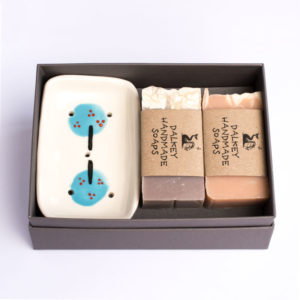 soap dish and two handmade soaps in gift box